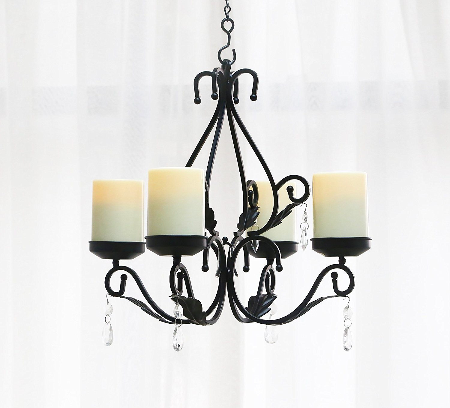 Giveu 3 In 1 Lighting Chandelier Metal Wall Sconce Set Of 2 Table Centerpiece For Indoor Or Outdoor Chain And Candles Included Black Home Decoration Shop